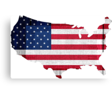 American Flag and Map Canvas Print