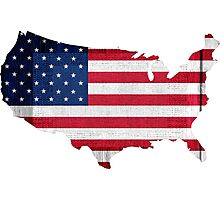 American Flag and Map Photographic Print