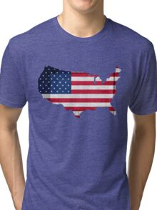American Flag and Map Tri-blend T-Shirt