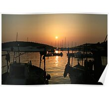Sunset over Sivota Harbour Poster