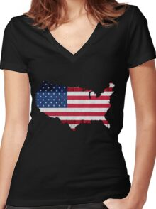 American Flag Map Women's Fitted V-Neck T-Shirt