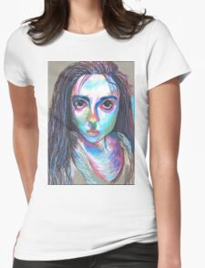 Oil Pastel Portrait Womens Fitted T-Shirt