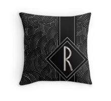 1920s Jazz Deco Swing Monogram black & silver letter R Throw Pillow