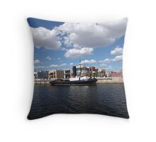 a Day in March at the Port with the Dolphins  Throw Pillow
