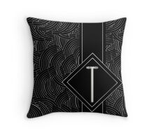1920s Jazz Deco Swing Monogram black & silver letter T Throw Pillow