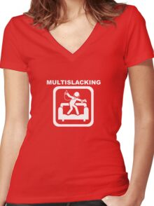 Multislacking - White Women's Fitted V-Neck T-Shirt