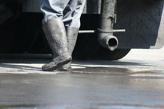 Hot Shoes!  Asphalt worker, La Mirada, CA USA by leih2008