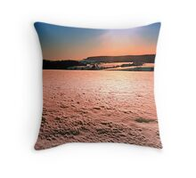Snow, fields and a winter sunset | landscape photography Throw Pillow