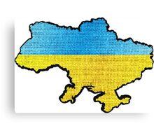 Ukraine Flag Map Canvas Print