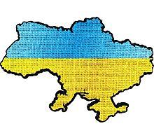 Ukraine Flag Map Photographic Print
