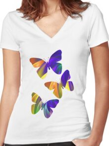 Colour Swing, fratal abstract Women's Fitted V-Neck T-Shirt