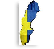 Sweden Flag Map Canvas Print