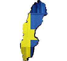 Sweden Flag Map Photographic Print