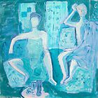 Blue Couple - Acrylic on Canvas by Elle  Gamboa by Elle Gamboa