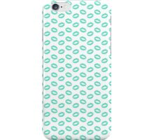 Tiffany Aqua Blue Lipstick Kisses on White iPhone Case/Skin