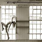 Collared nude at window by John Tisbury
