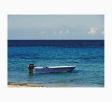 Blue Boat with red stripe in the ocean T-Shirt