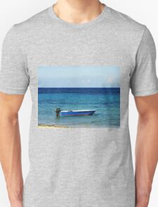 Blue Boat with red stripe in the ocean Unisex T-Shirt