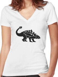Ankylosaurus dinosaur Women's Fitted V-Neck T-Shirt