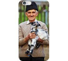 Old farmer with a baby goat iPhone Case/Skin