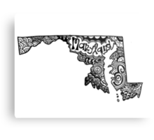 Maryland State Zentangle Outline Metal Print