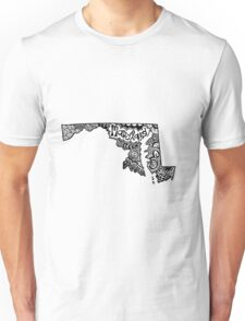 Maryland State Zentangle Outline Unisex T-Shirt