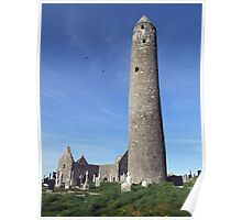 Kilmacduagh round tower morning view Poster