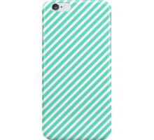 Tiffany Aqua Blue Diagonal Sailor Stripes iPhone Case/Skin
