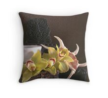 Still life with Japanese tea cup, orchids and sheashell Throw Pillow