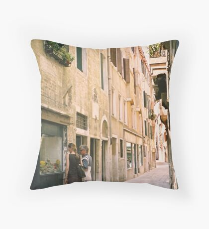Window Shopping in Venice, Italy Throw Pillow