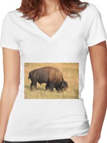 American Bison Women's Fitted V-Neck T-Shirt