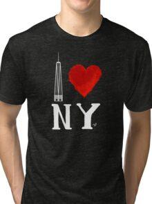 I Love NY Freedom (wht) by Tai's Tees Tri-blend T-Shirt