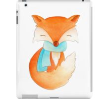 Cute fox cub whimsical winter watercolor art iPad Case/Skin