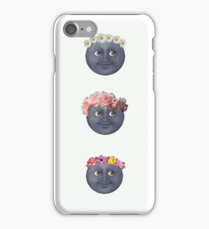 Three Moons in Flower Crown Emojis  iPhone Case/Skin