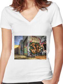 Back Alley Graffiti Art Women's Fitted V-Neck T-Shirt