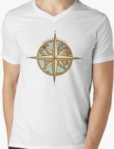 Wanderlust Compass & Map Mens V-Neck T-Shirt