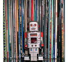 Vintage Toy Robot and Vinyl Records Photographic Print