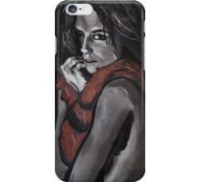 Shy Nude Girl with Scarf  iPhone Case/Skin