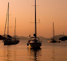Yachting at sunset by Matt Sillence