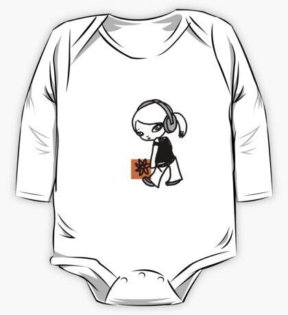 Girl M Orange T-shirt One Piece - Long Sleeve