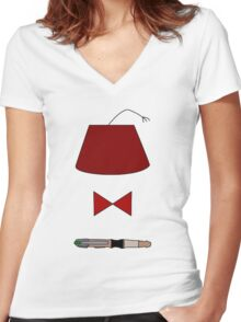 11th Doctor Minimalist Piece Women's Fitted V-Neck T-Shirt
