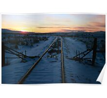 Old Tracks into Winter Sunset (1) Poster