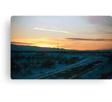 Old Tracks into Winter Sunset (2) Canvas Print