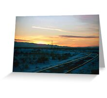 Old Tracks into Winter Sunset (2) Greeting Card