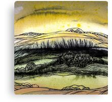 Summer.Hand draw  ink and pen, Watercolor, on textured paper Canvas Print