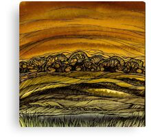 Fall.Hand draw  ink and pen, Watercolor, on textured paper Canvas Print