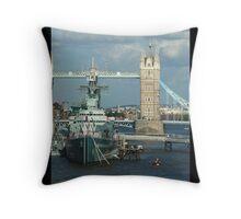 London Bridge and Ship Throw Pillow