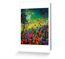 red and blue poppies 670808 Greeting Card