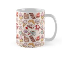 Hand drawn confectionery seamless pattern croissant Cupcake candy marshmallow ice cream cake donut and coffee Mug