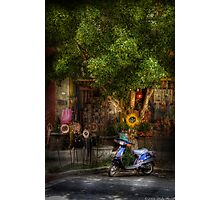 The Blue Scooter Photographic Print
